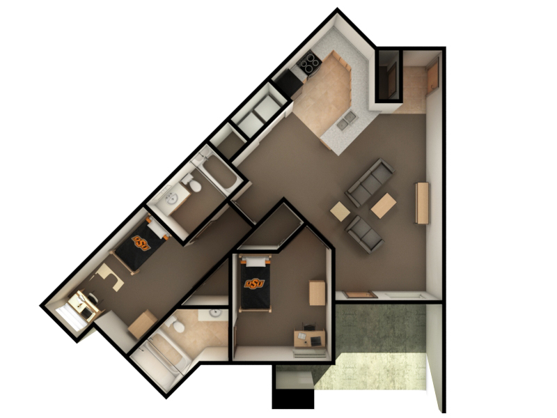 Peterson-Friend Hall Dimensions (2 bed)