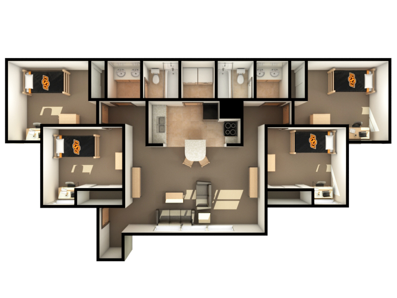 Peterson-Friend Hall Dimensions (4 bed)